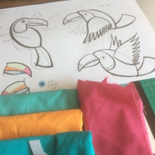 Fiona T designign toucans and playing with colour