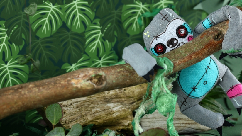 Zombie sloth hanging out int he rain forest - by Fiona T